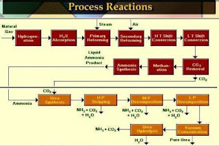 Block diagram of ammonia and urea processed from natural gas