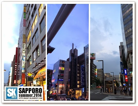 Sapporo Japan - Lights up at night in the city