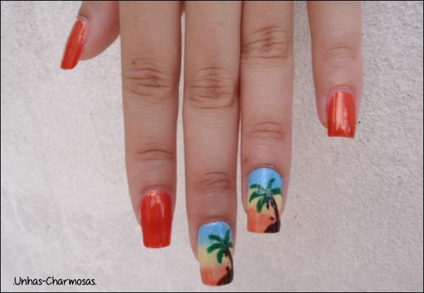 nail art verão, unhas para o verão, nail art coqueiro, unhas de coqueiro, degradê, unhas gêmeas, Bafão, Passe Nati, nail art,