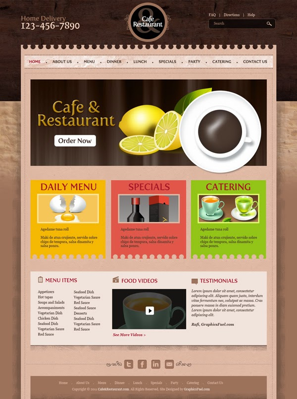 Cafe and Restaurant Website Template PSD