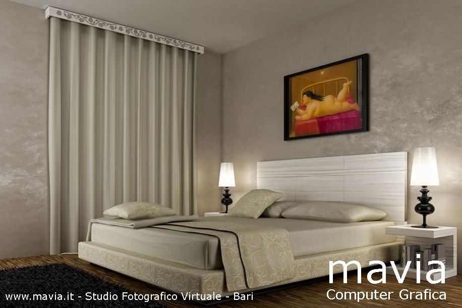 Arredamento di interni rendering interni 3d arredamento for Tende da camera da letto immagini