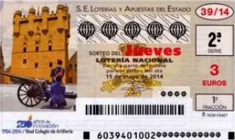 Lotería Nacional del jueves 15 de mayo de 2014, sorteo nº 39