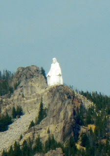 View of Our Lady of the Rockies statue in Butte, Montana from Interstate 90
