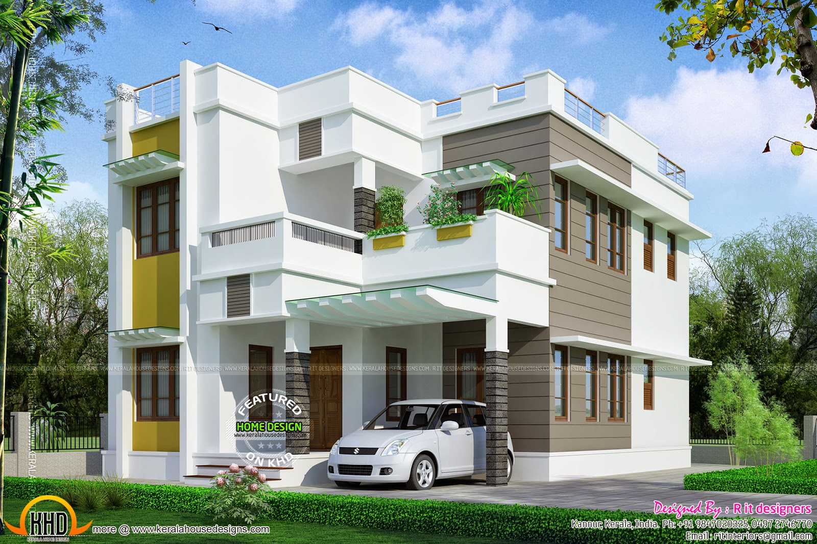 Beautiful 2145 square feet house kerala home design and for Beautiful home front design