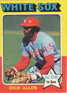 1975 Topps Dick Allen, sporting his batting helmet on the field