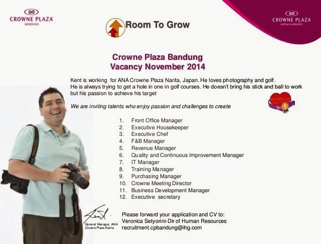 Jobs Vacancy At Crowne Plaza Bandung Hhrma Bali 2017
