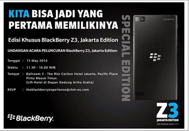 Invitation Blackberry Z3 launch