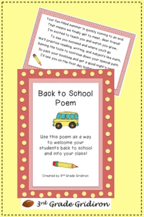 Had a question on my fb page the other day about back to school poems