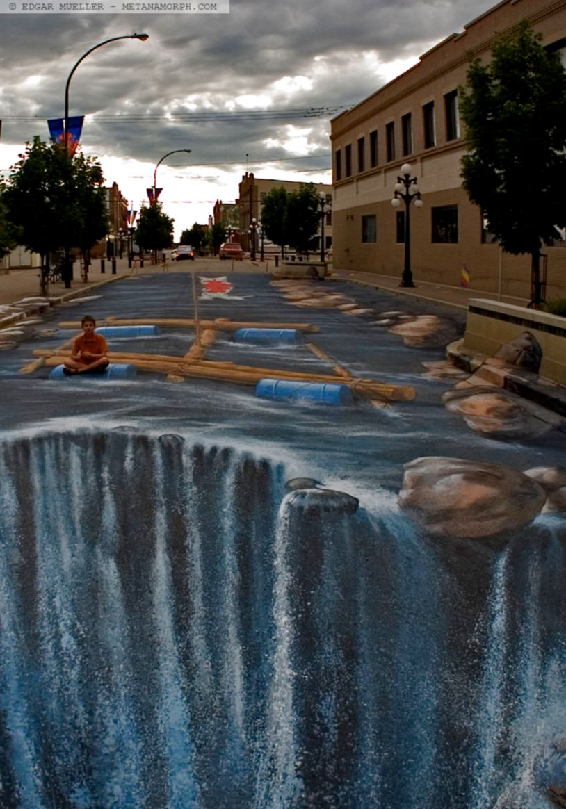 View original size 2013 12 illusion street art waterfall 3d graffiti hd wallpaper