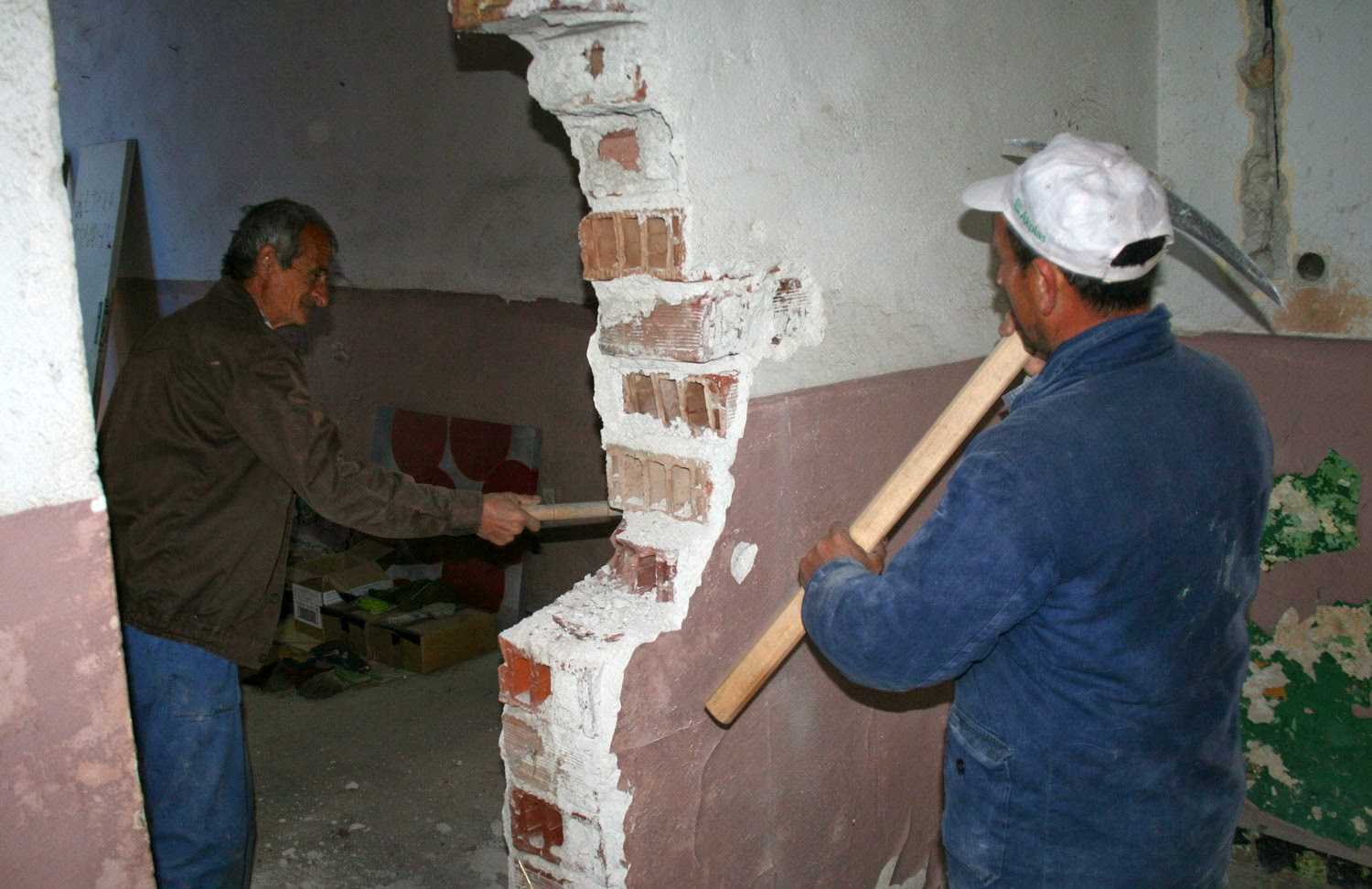 Starting work on the next wall to be removed