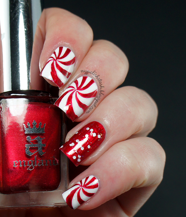 holiday manicure red white