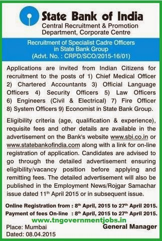 State Bank of India Recruitments (www.tngovernmentjobs.in)