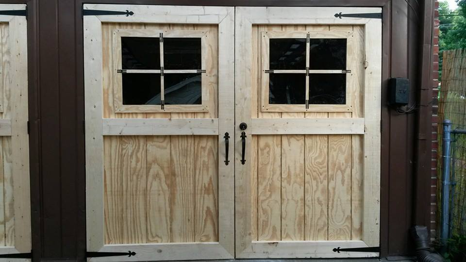 Frugal ain 39 t cheap carriage style doors for Swing out garage doors price