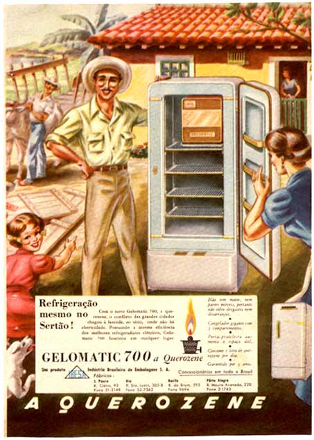 Propaganda da geladeira movida a querosene nos anos 50 (Gelomatic).