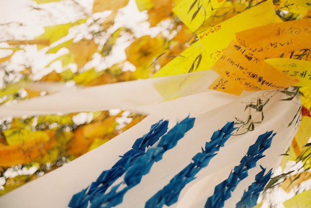 gold and blue colored tanabata decorations