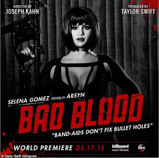 Selena Gomez Exposing Sexy Cleavages along with Taylor Swift Karliue Kloss Zendaya and others for Bad Blood Poster