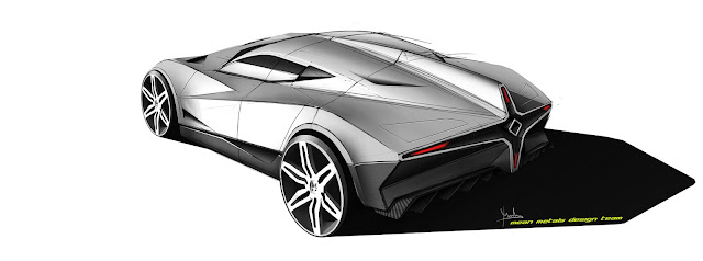 Marcelo Aguiar Mean Metal Motors M-Zero sketch rear 3/4 view