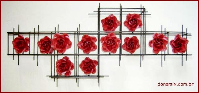 quadro flores em ferro
