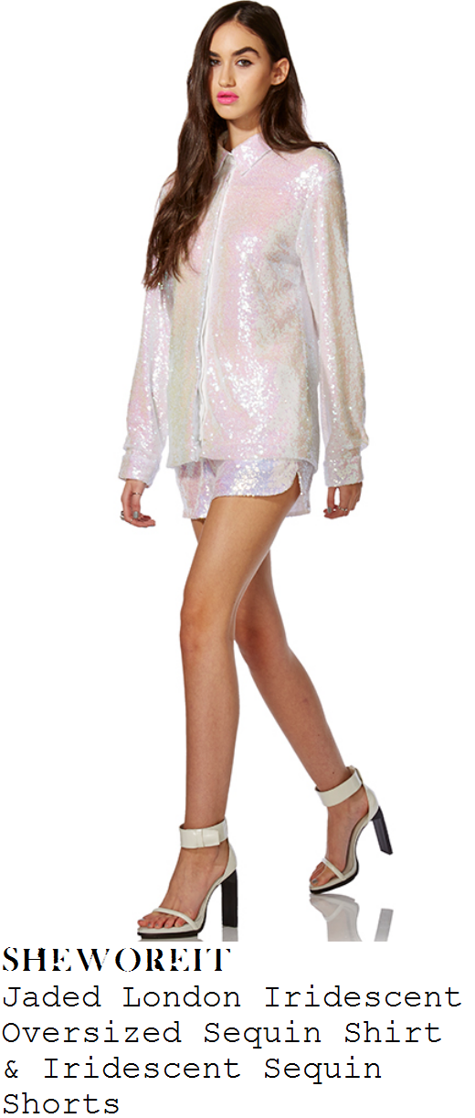 louisa-johnson-white-sequin-long-sleeve-shirt-and-shorts-co-ords-x-factor