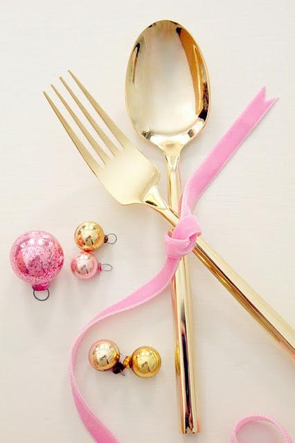 gold tone utensils - festive