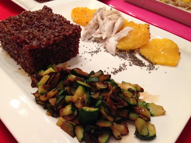 senza bimby, branzino all'arancia, riso rosso, tartare di zucchine, semi di chia