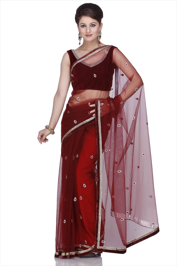 Rosewood Net Saree