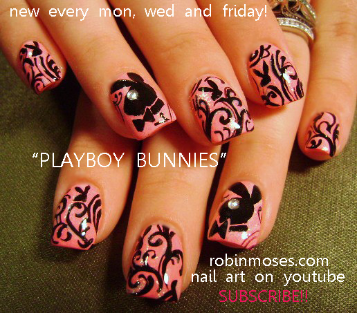 Robin moses nail art pink and black playboy bunny nails cute pink playboy bunny design robin moses nail art tutorial prinsesfo Image collections