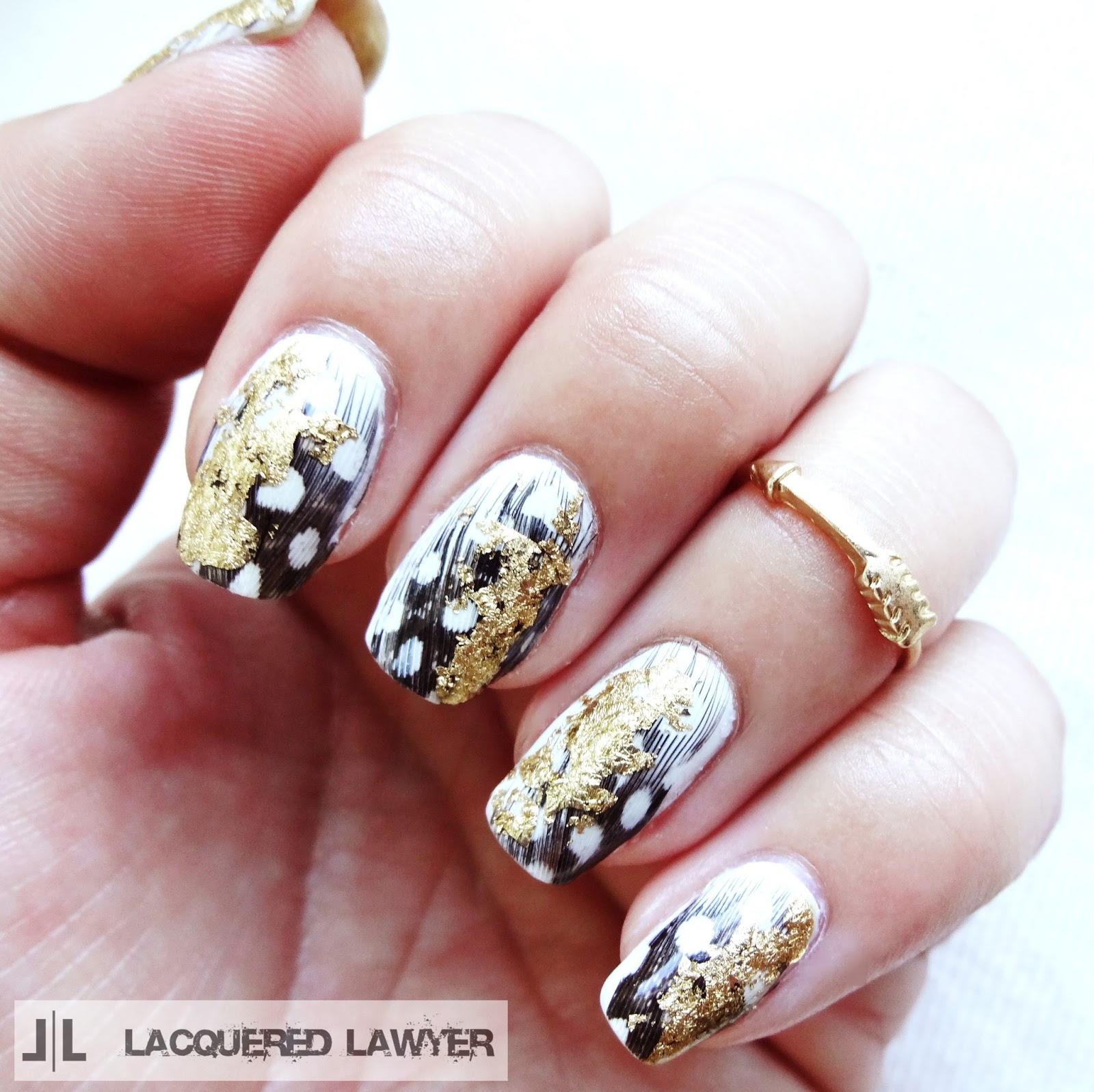 Feather and Foil Nail Art