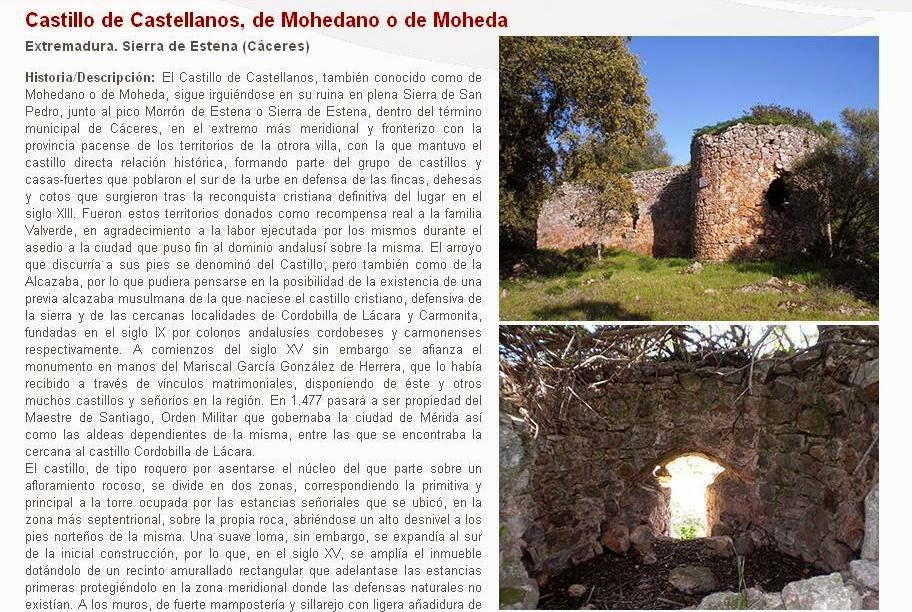 Lista Roja del Patrimonio: Castillo de Castellanos, de Mohedano o de Moheda (Cáceres)