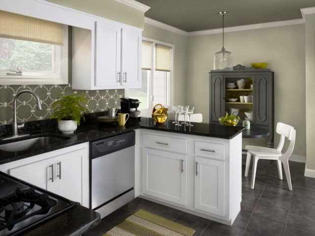 Wall paint colors for kitchen cabinets for Black and white painted kitchen cabinets