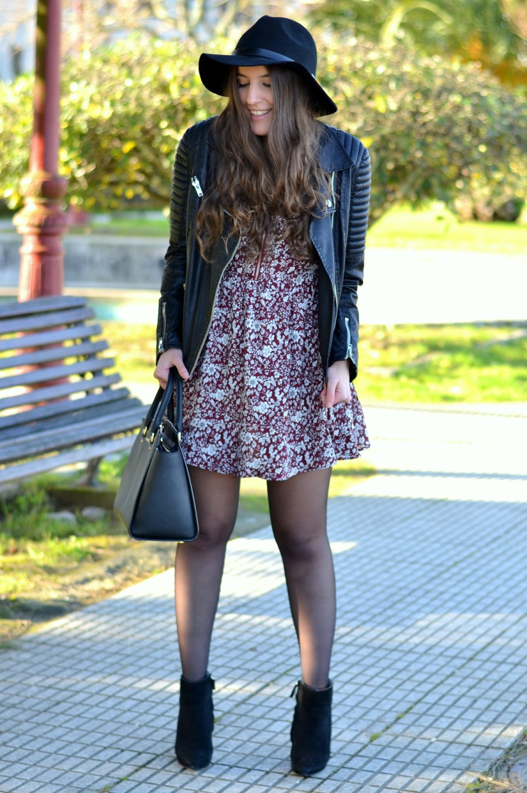 leather and floral print dress