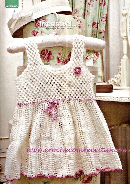 vestidinho branco para bebê em croche com receitas