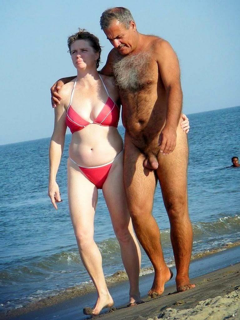 Real amateur mature couple on beach