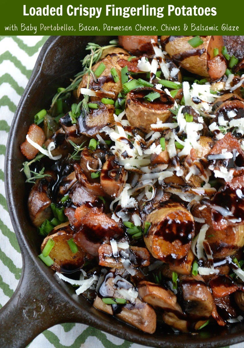 Crispy Fingerling Potatoes With Caramelized Onions Mushrooms and Bacon