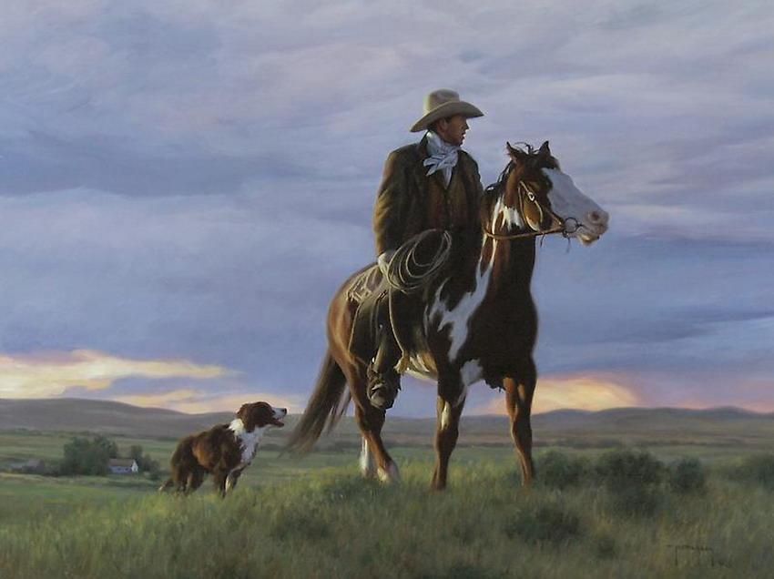 Cuadros modernos escenas del campo con caballos y vacas - Cuadros de vacas ...