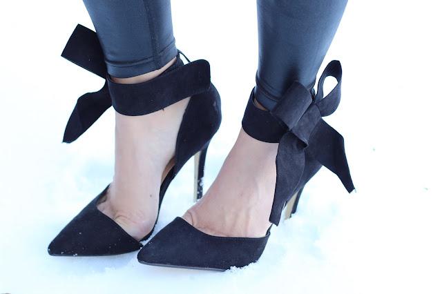 black suede ankle bow heels