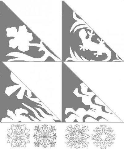 и ещё схемы. как правильно складывать бумагу. схемы снежинок. здесь просто супер, если нажать на снежинку...