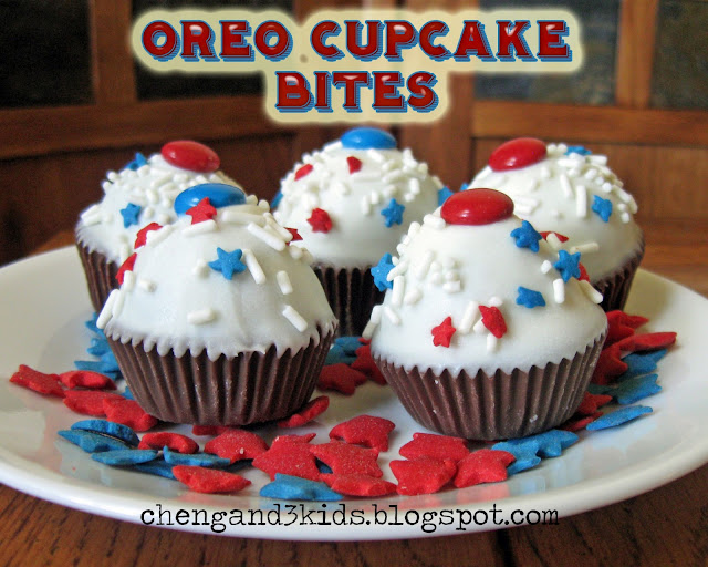 Red, White & Blue Oreo Cupcake Bites