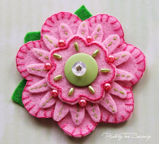 Pink and Green Felt Flower Brooch by Tori Beveridge