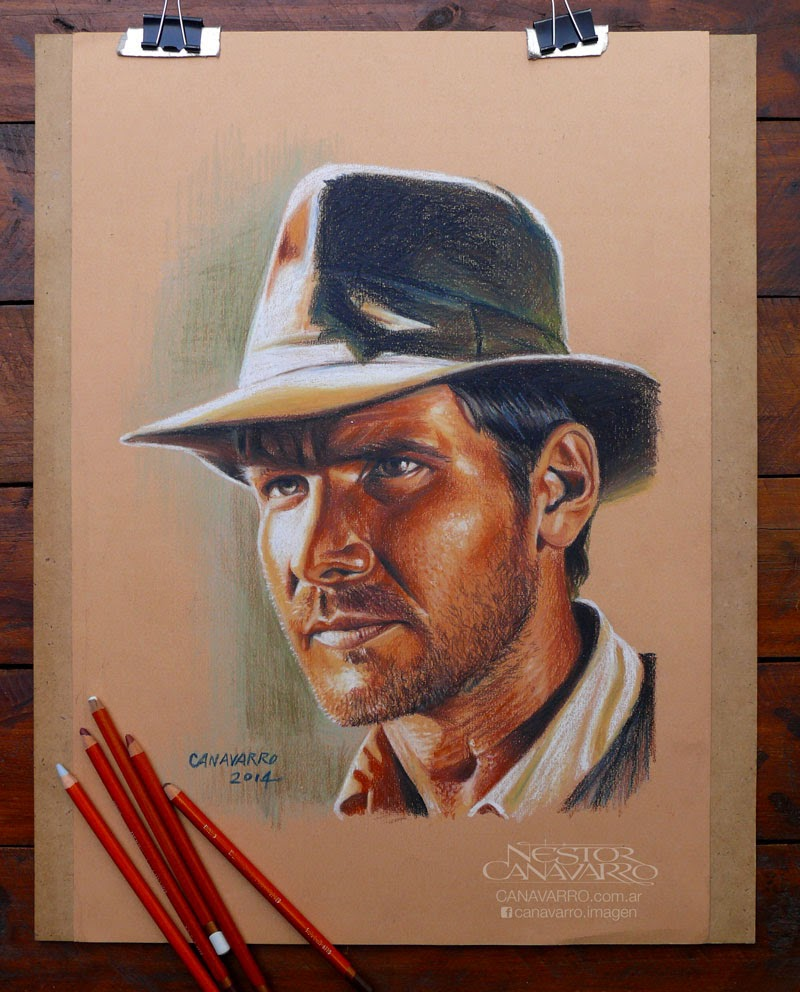 08-Indiana-Jones-Nestor-Canavarro-Celebrity-Portraits-Animated-Drawings-www-designstack-co
