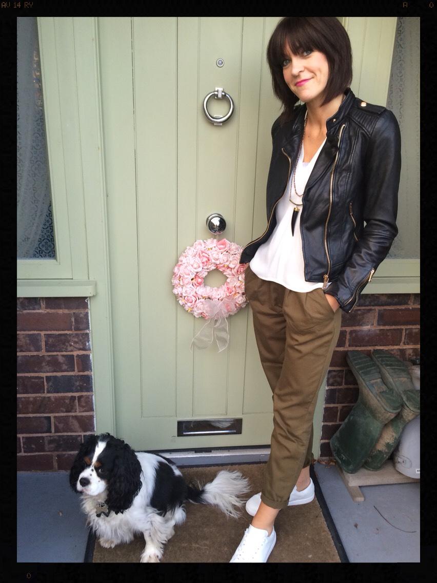 My Midlife Fashion, Chinos, Biker Jacket, Leather, Leather Jacket, Tusk Necklace, Zara, Mango