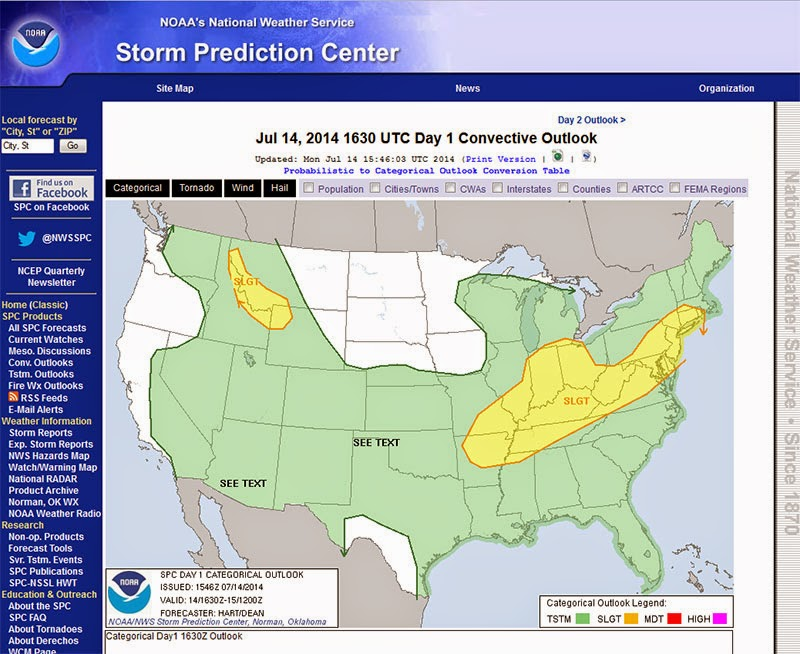 Storm Prediction Center Outlook Map