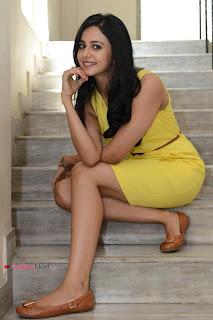 Rakul Preet Singh  Pictures in Yellow Dress at Rough Movie Logo Launch  0022.jpg