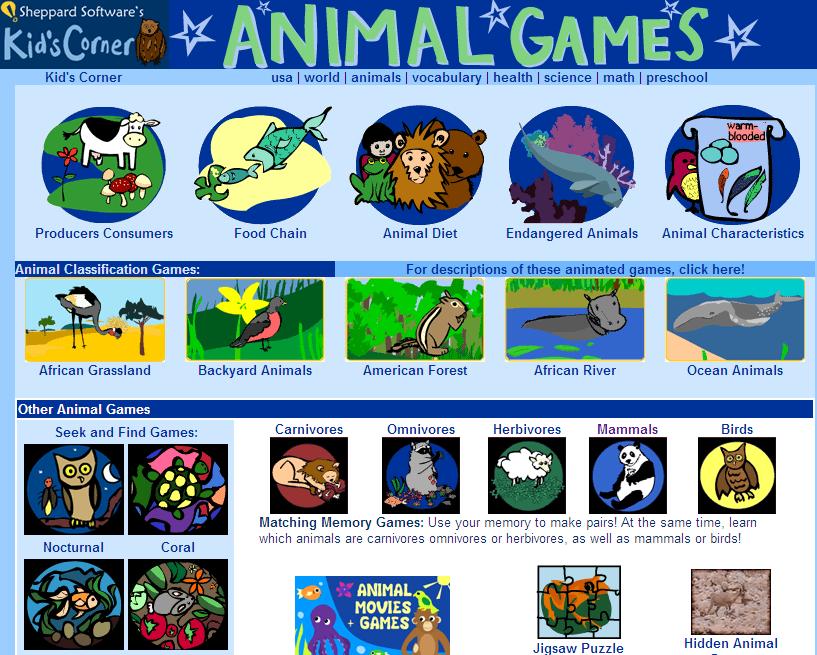 http://www.sheppardsoftware.com/content/animals/kidscorner/gamesforkids.htm