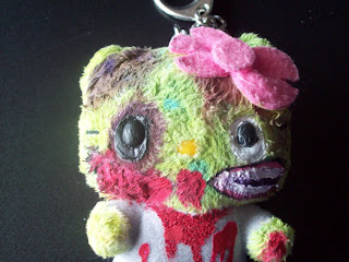 Hello Kitty zombie plush toy keyring