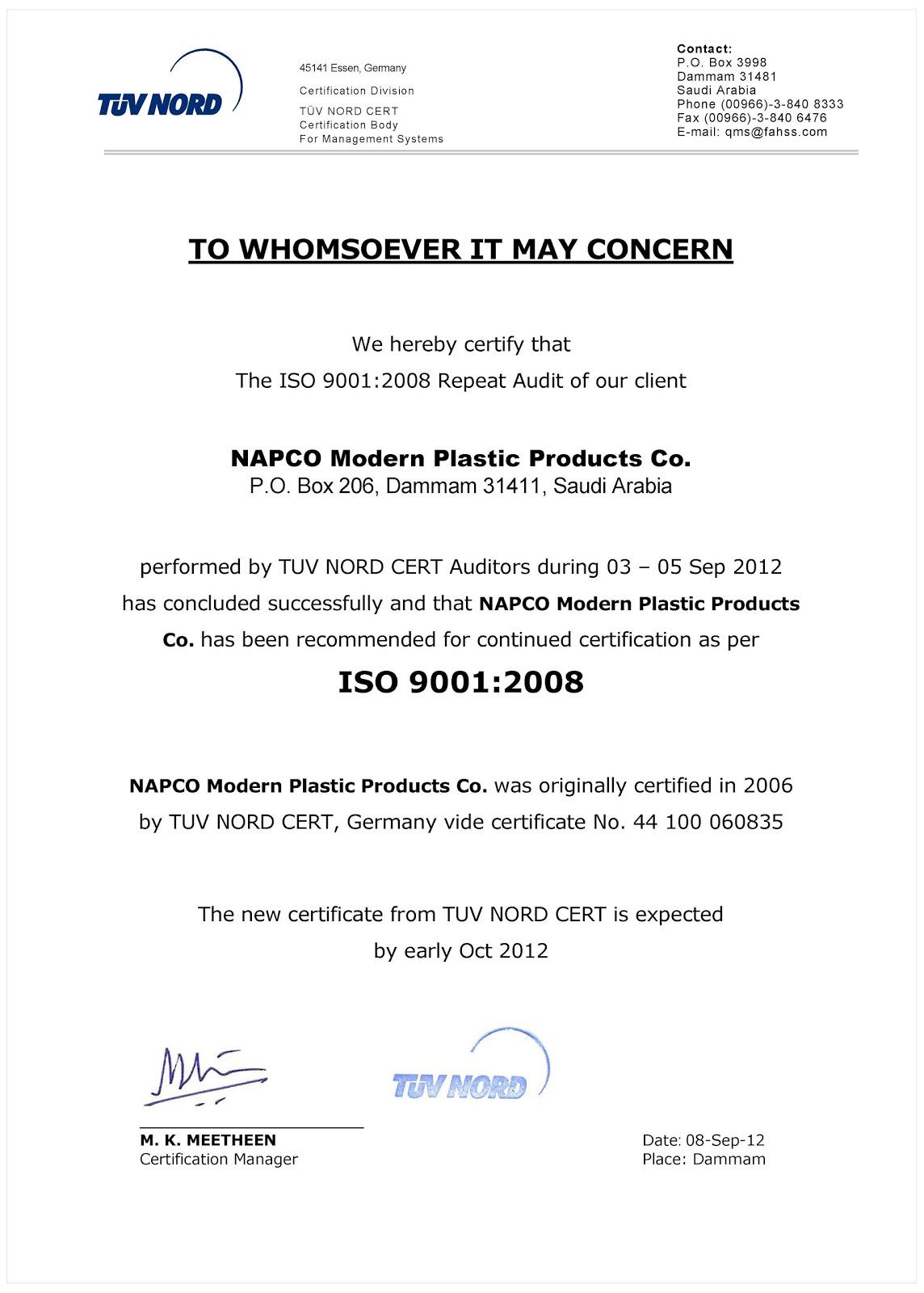 OUTBOUND E-newsletter: Napco Modern Sack Division Renews ISO 9001