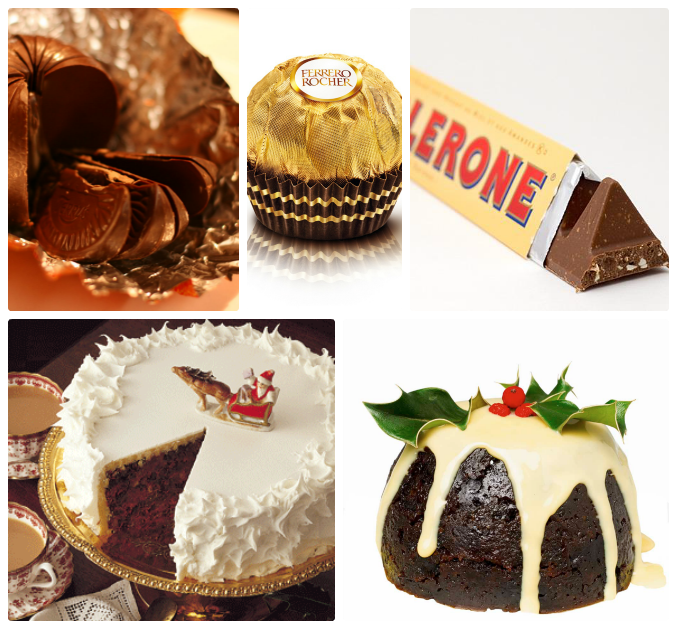 christmas food treats, christmas cake, christmas pudding, toblerone, terry's chocolate orange, ferrero rocher