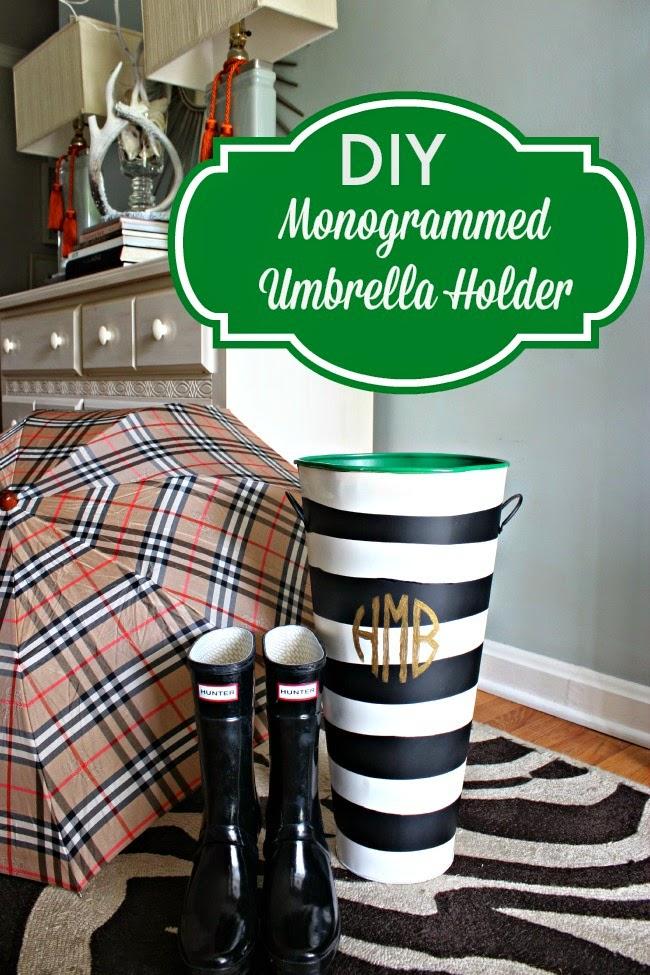 diy monogrammed umbrella holder southern state of mind. Black Bedroom Furniture Sets. Home Design Ideas