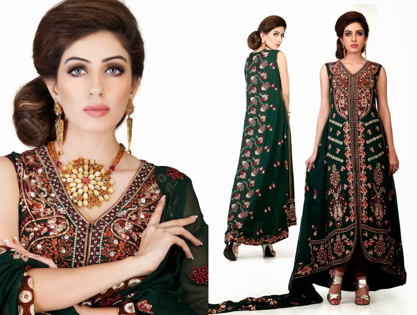 Mehndi Clothes Designs 2014 | Open Shirts Designs Pakistani 2014 Images