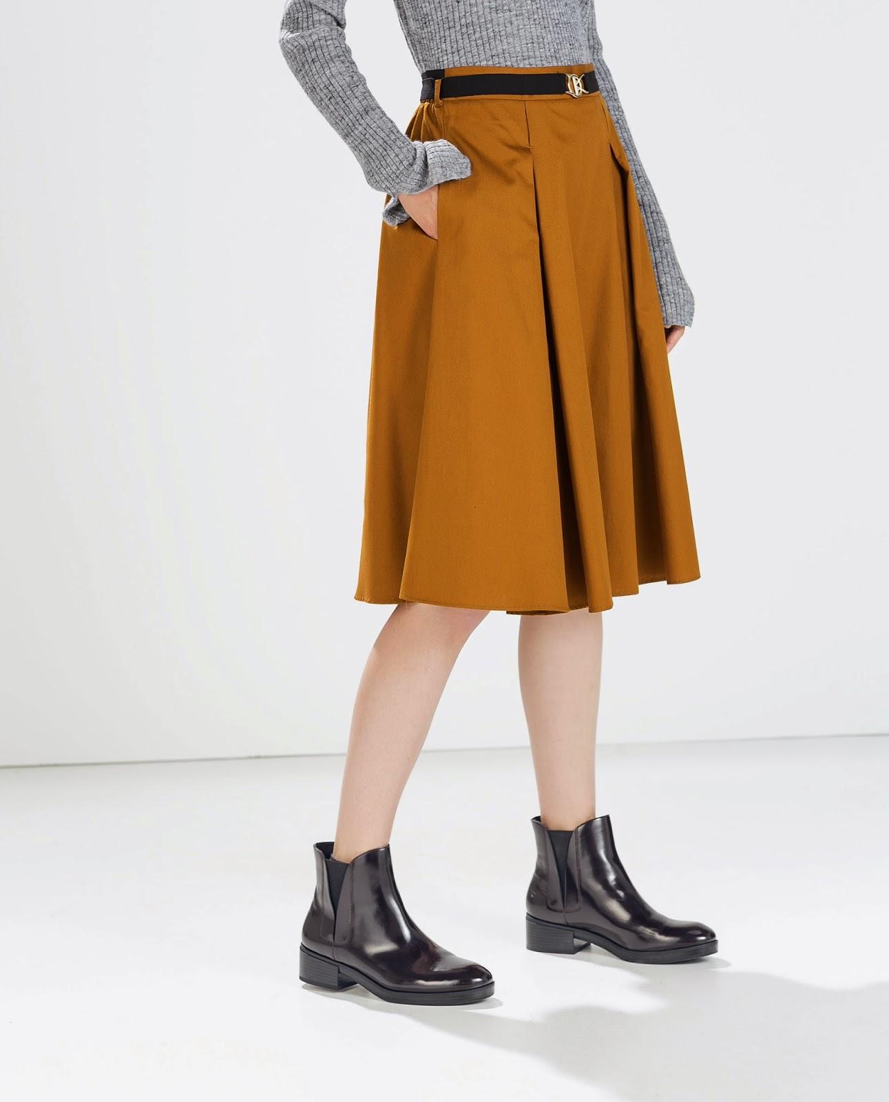 zara mustard skirt